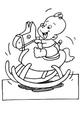 Dibujo de un Bebe en Caballito para colorear