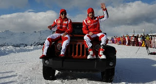 Jeep Wrangler with Massa and Alonso
