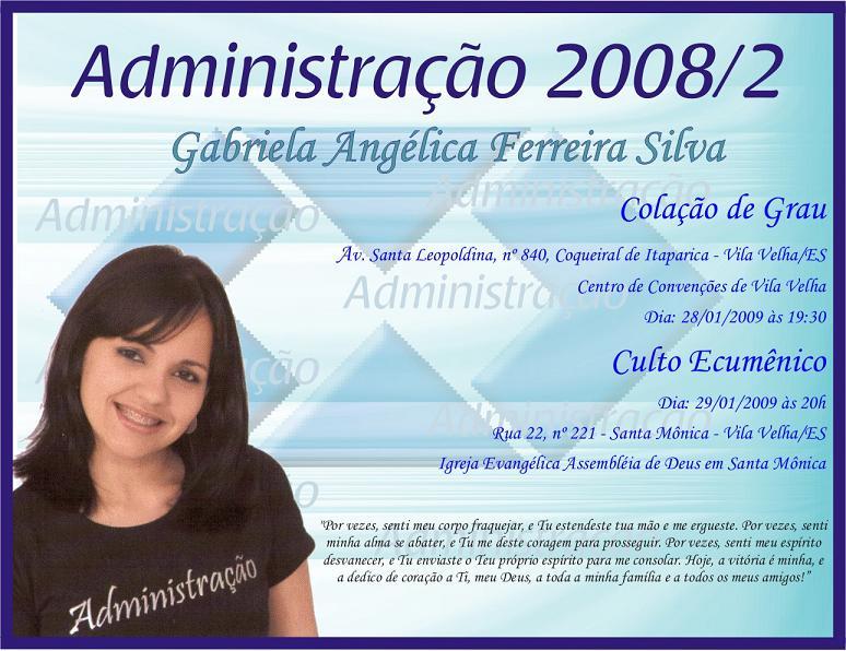 Convite De Formatura   Formatura Da Gaga   Administra    O