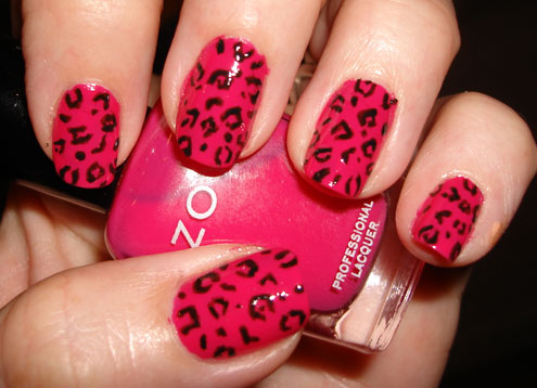 bright pink leopard manicur Expensive manicure