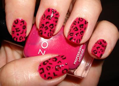 احلى مناكير اظافر bright-pink-leopard-
