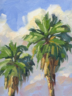 Tom brown fine art palm trees california plein air by for Painting palm trees