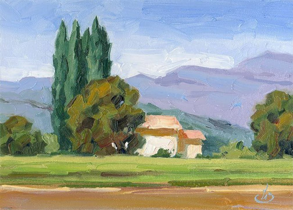 Daily painters of california vineyard home plein air for Landscape paintings for beginners