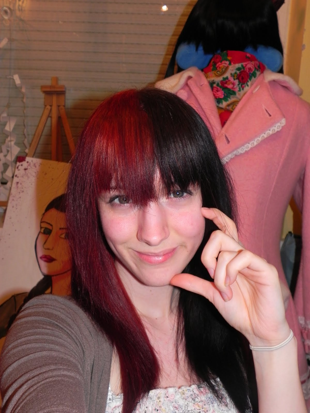 Red and Black Two Tone Hair Color Ideas