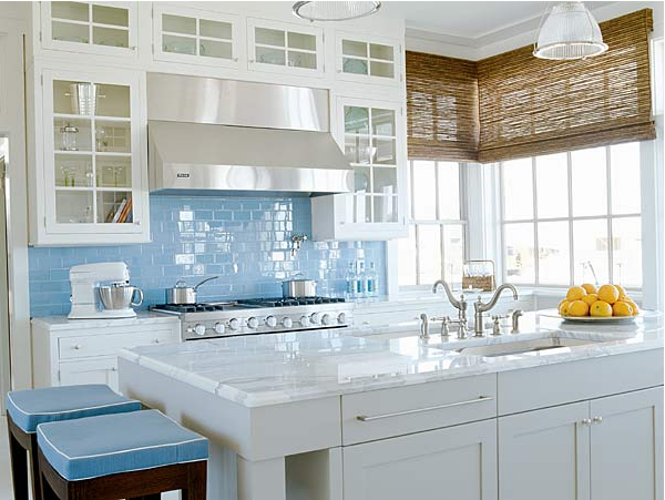 Glass Bird Home Bright White Blue Kitchen