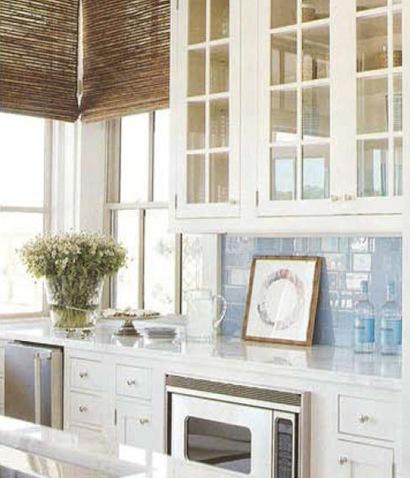 Glass bird home bright white blue kitchen for Beachy kitchen cabinets