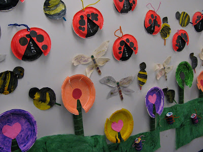 Preschool spring bulletin board, ladybugs, flowers, bumblebees, paper plates, insects