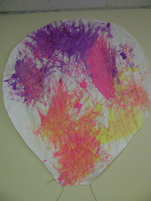 Spring painting, toddlers, hot air balloon, bright colors, mural, collaborative