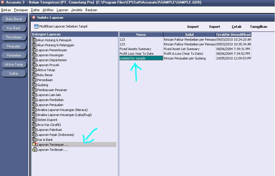 software accurate memodifikasi laporan penjualan sales