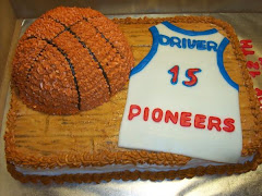 Basketball cake with fondant jersey