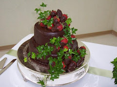 Chocolate Cake Chocolate Ganache Icing with Chocolate Dipped Strawberries