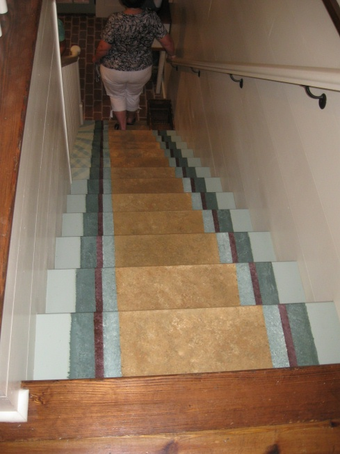 faux stairs lead down to the basement