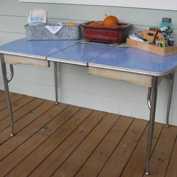 vintage blue formica table