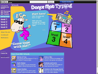 BBC Typing Mat Game - Dancing Mat at www.bbc.co.uk/schools/typing/