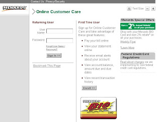 Login to Menards BIG Card account at Hrsaccount.com/menards
