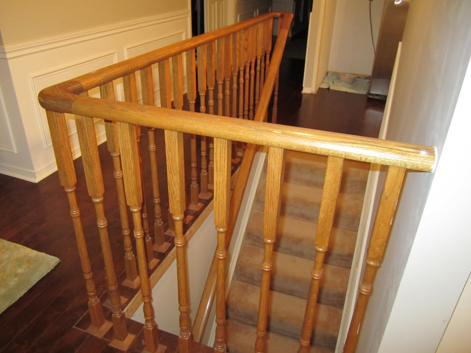 Remodelaholic updating an oak stair or handrail to white and walnut - Stairs in a small space model ...