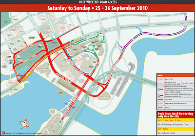 Road Closure in Singapore due to F1 2010