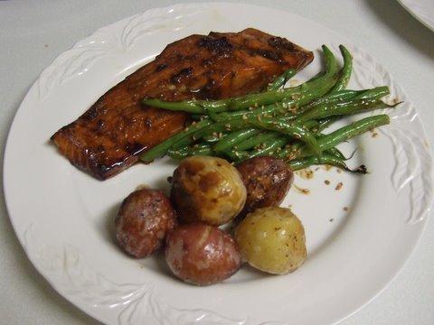 Honey Glazed Salmon with Sesame Green Beans