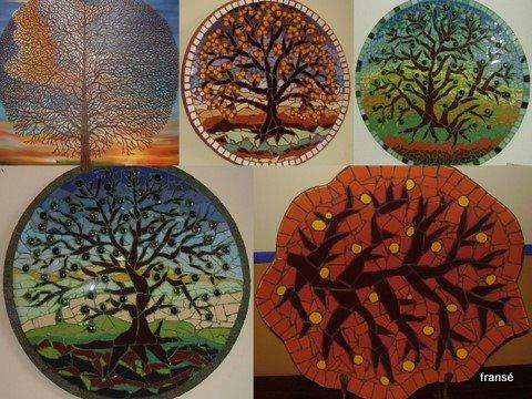 árvores-pintura,pratos e fruteira