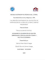 VALORACION CONTINGENTE DE UNA POLITICA DE INTERVENCION EN VIH/SIDA EN LA ESPOL CAMPUS PROSPERINA