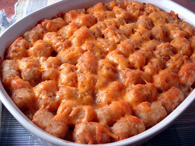 Tater tot hot dish just out of the oven