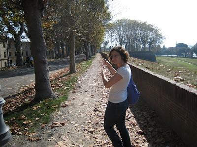 מדריכה תיירים על החומה של לוקה, טוסקנה