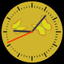 golden butterflies free flash clock