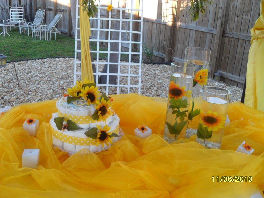 Diaper cakes baby shower sunflower cake
