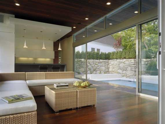 Modern architectural pool house design by hariri hariri Minimalist house design with pool