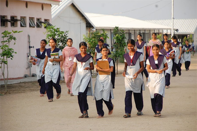 students on the way to academic block