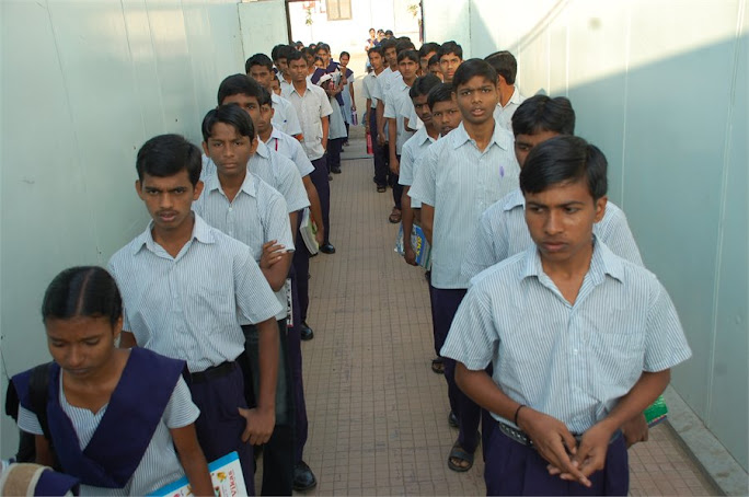 Students at academic block