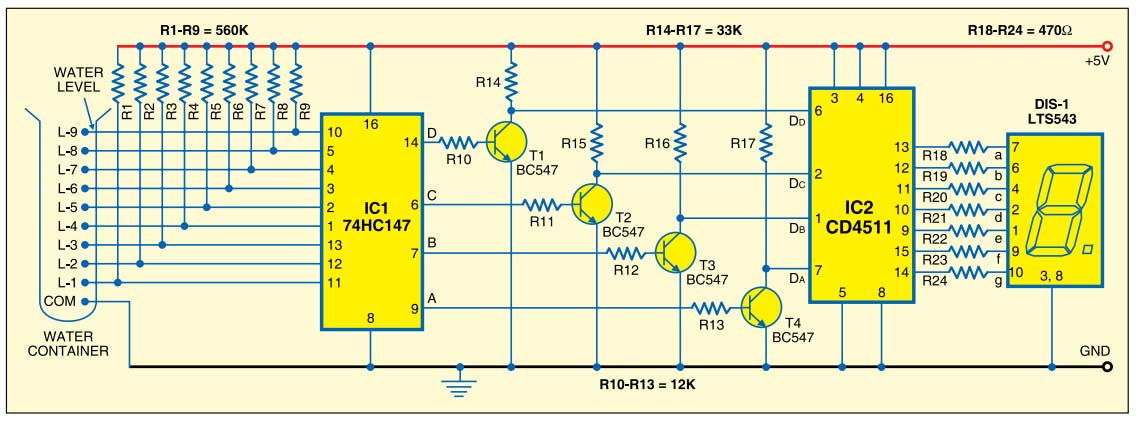 numeric water level indicator circuit electronic circuits free rh anycircuitfree blogspot com
