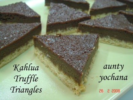 Yochana's Cake Delight! : Kahlua Truffle Triangles