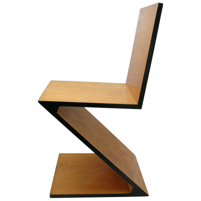 Kingy design history dean nutley zig zag chair gerrit for Chaise zig zag
