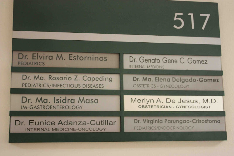 Here are the doctors holding office in Room 517. Dra Capeding is Anika  title=
