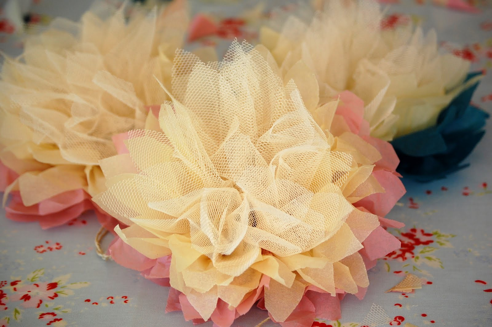 Greedy For Colour Tissue Paper And Tulle Flower Tutorial