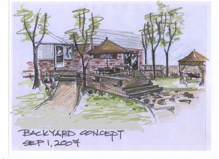 Backyard proposal view of new deck