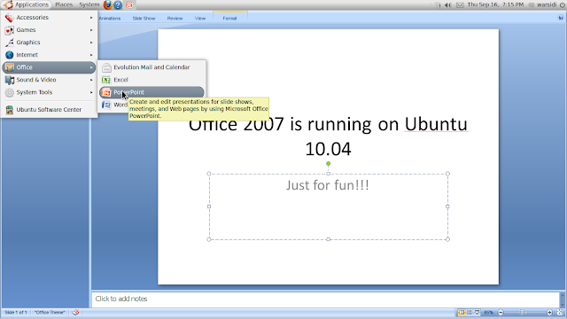 Office 2007 is running on ubuntu 10.04