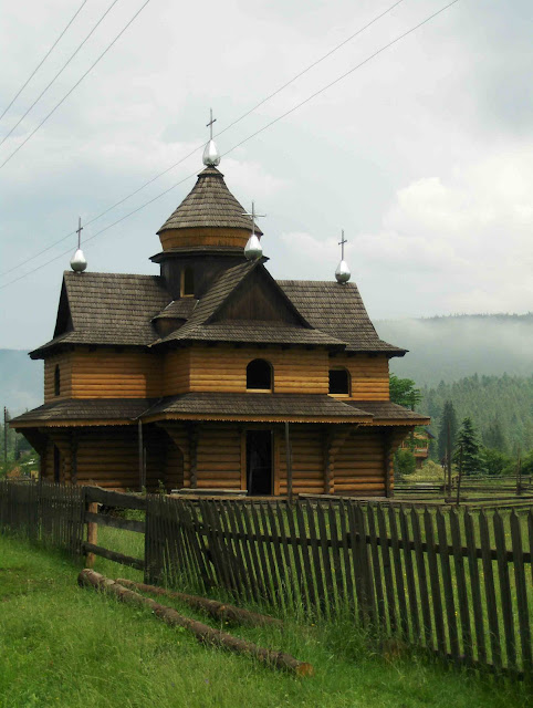 West Ukraine: Wooden Church in Carpathian Mounts