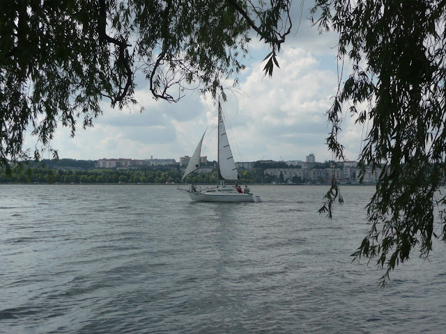 Yacht on the Ternopil lake