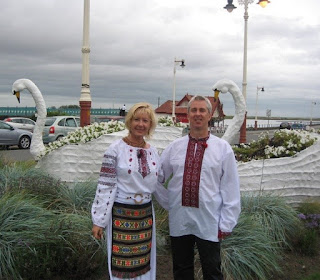 Family wears Ukrainian embroidery (Liverpool, England)