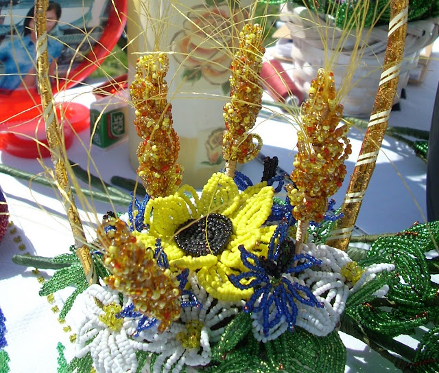 Beaded Sunflower And Camomiles By Halyna Mykhalska Zbarazh City West Ukraine
