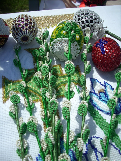 Beaded Easter Eggs And Beaded Pussy Willows by Halyna Mykhalska Zbarazh City West Ukraine