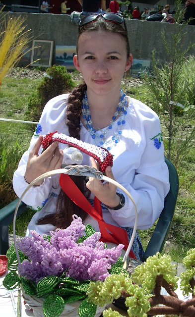 Ukrainian Girl And Her Craft Beaded Lilac Zbarazh City Western Ukraine