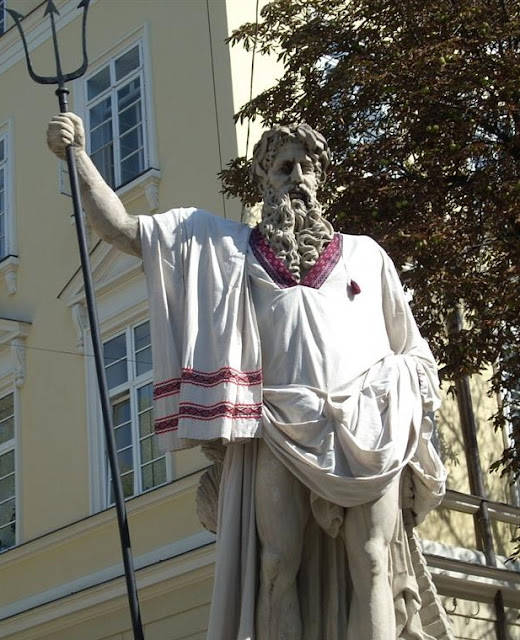Neptune Statue Ukrainian Outfit Lviv West Ukraine
