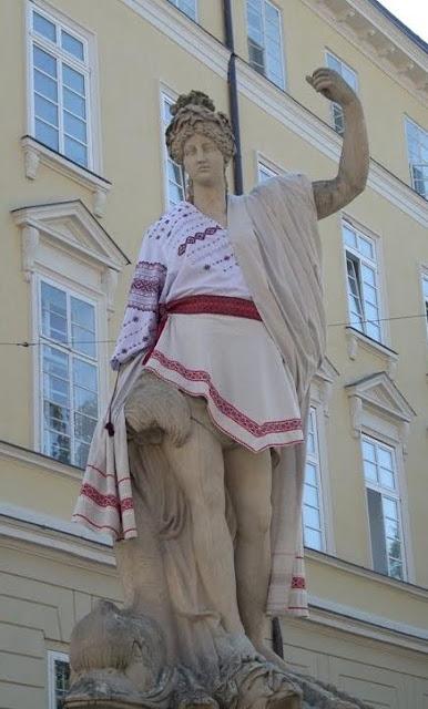 Amphitrite Statue Ukrainian Outfit Lviv Western Ukraine