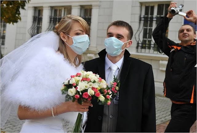 Fall 2009 Ukraine Lviv Flu Epidemics Newlyweds In Face Masks