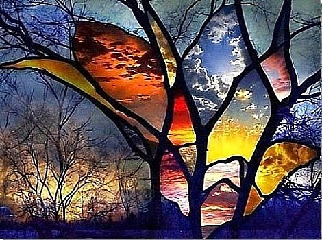 Winter Hues in Stained Glass