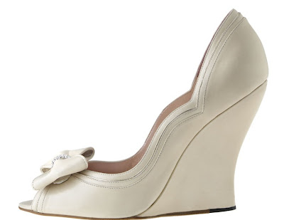 Aruna Seth bridal shoes white wedge with bow I also love these