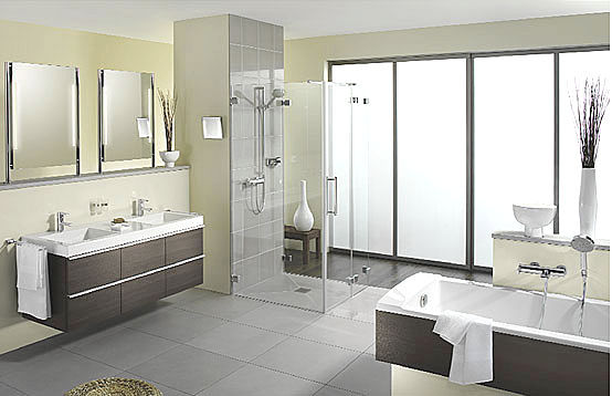 Baños Grises Modernos:Fotos Diseño Baños Modernos